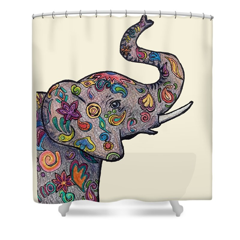 Colorful Elephant Shower Curtain For Sale By Audra Long