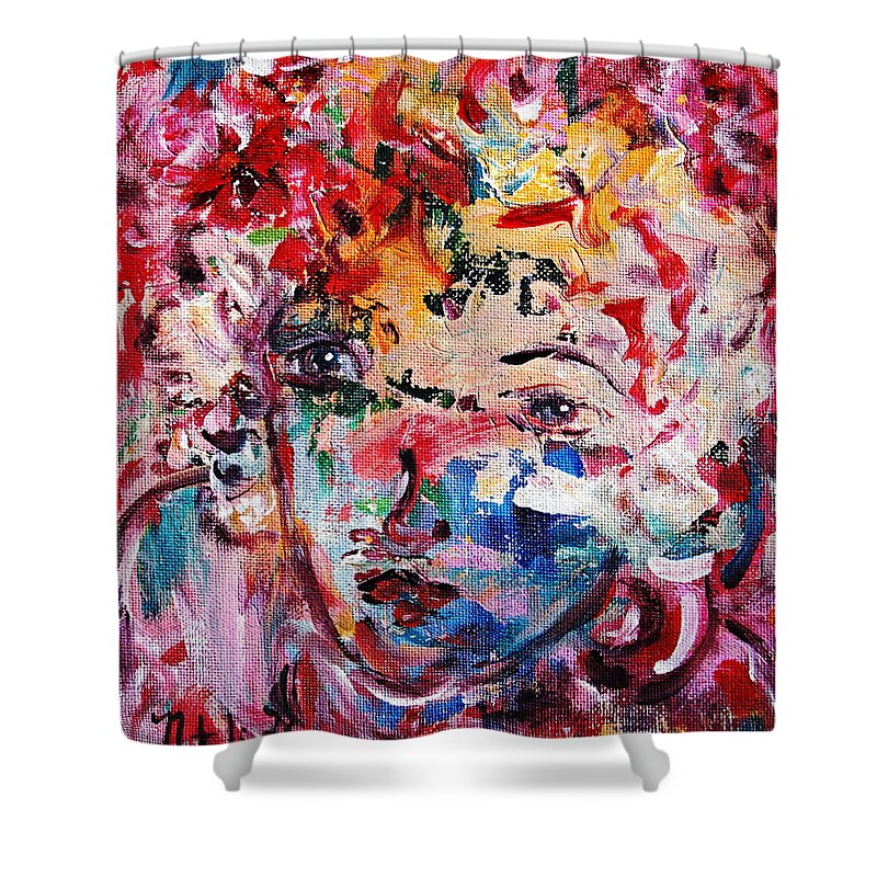 Expressionism Shower Curtain featuring the painting Colorful Expression 12 by Natalie Holland