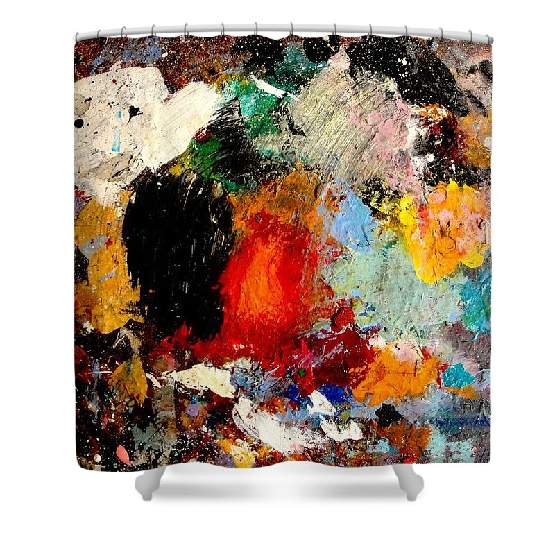 Abstract Shower Curtain featuring the painting Colorful Expressions by Natalie Holland