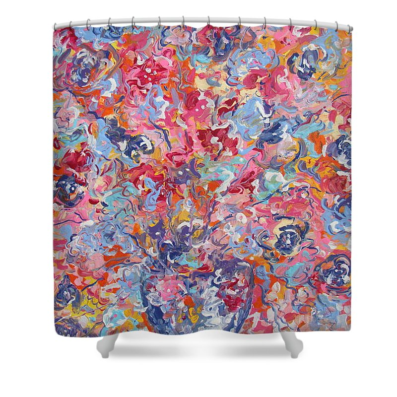 Flowers Shower Curtain featuring the painting Colorful Floral Bouquet. by Leonard Holland