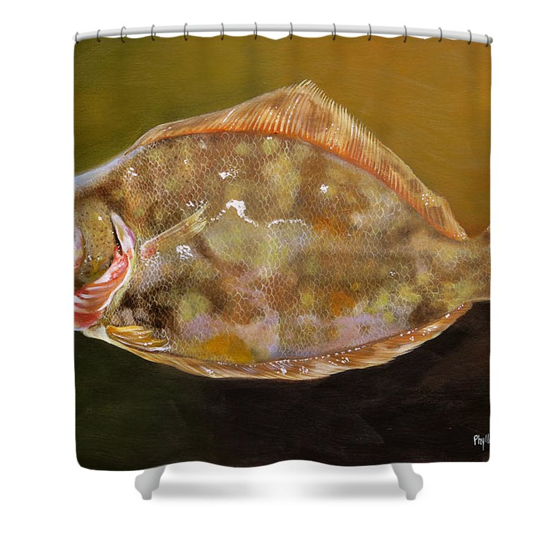 Flounder Shower Curtain featuring the painting Colorful Flounder by Phyllis Beiser