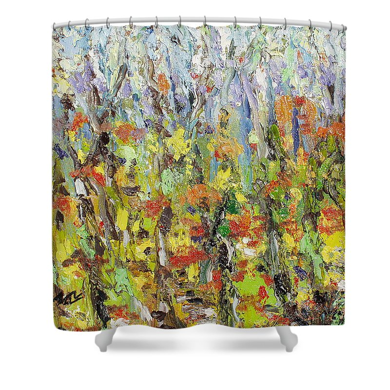 Autumn Abstract Paintings Shower Curtain featuring the painting Colorful Forest by Seon-Jeong Kim