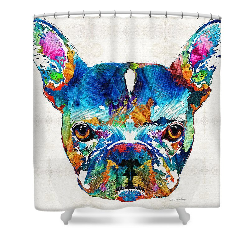 French Bulldog Shower Curtain Featuring The Painting Colorful Dog Art By Sharon Cummings