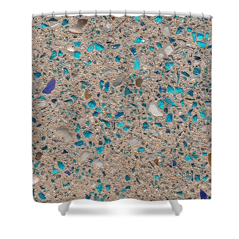 Glass Shower Curtain featuring the photograph Colorful Glass Recycled For Construction Of Concrete Sidewalk by Thomas Baker