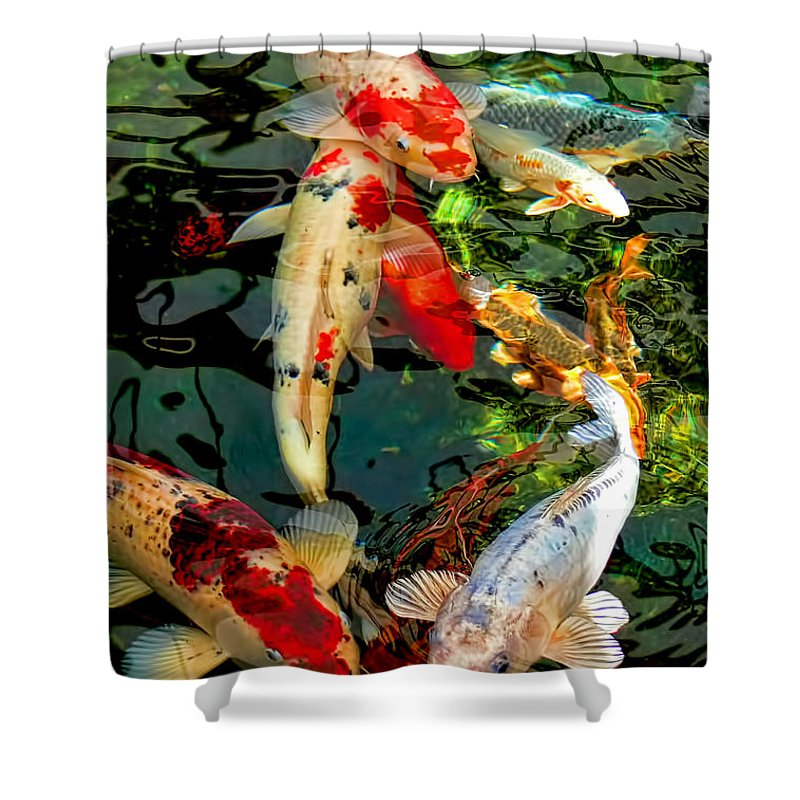 Koi Shower Curtain Featuring The Photograph Colorful Japanese Fish By Jennie Marie Schell