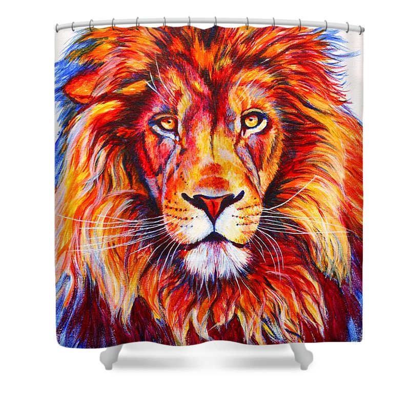 Lion Shower Curtain Featuring The Painting Colorful By Susana Falconi