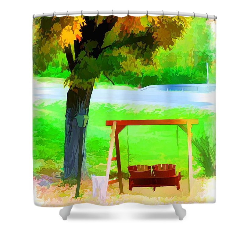 Colorful Maple Tree In The Autumn Shower Curtain featuring the painting Colorful Maple Tree In The Autumn by Jeelan Clark