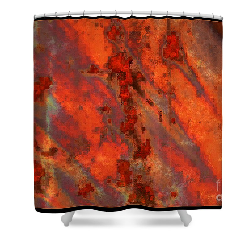 Colorful Abstract Shower Curtain featuring the photograph Colorful Metal Abstract With Border by Carol Groenen
