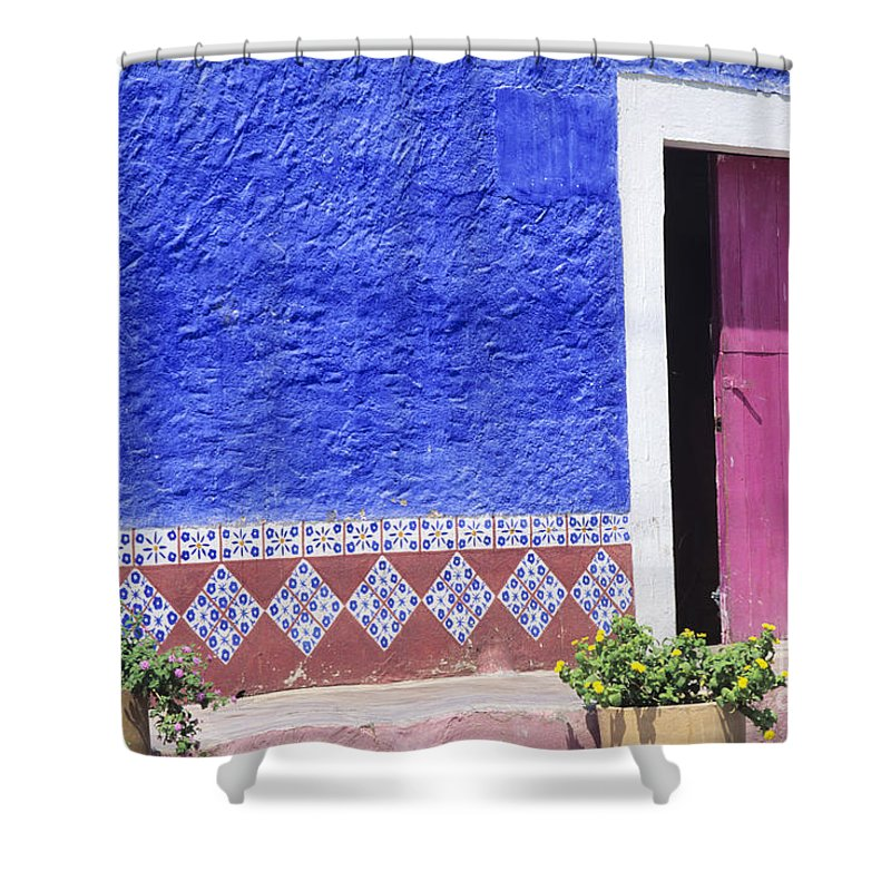Architecture Shower Curtain featuring the photograph Colorful Mexico by Peter French - Printscapes
