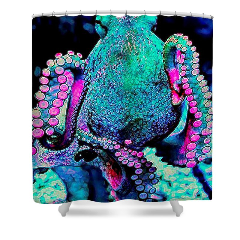 Octopus Shower Curtain Featuring The Digital Art Colorful By Michael Todd