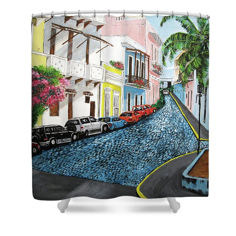 Old San Juan Shower Curtain featuring the painting Colorful Old San Juan by Luis F Rodriguez
