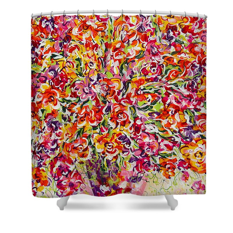 Framed Prints Shower Curtain featuring the painting Colorful Organza by Natalie Holland
