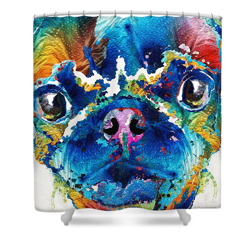 Pug Shower Curtain featuring the painting Colorful Pug Art - Smug Pug - By Sharon Cummings by Sharon Cummings