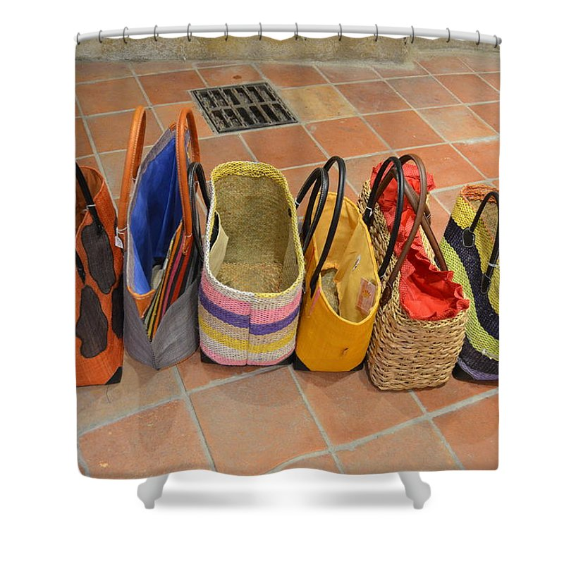 Colorful Shower Curtain featuring the photograph Colorful Purses by Dawn Crichton