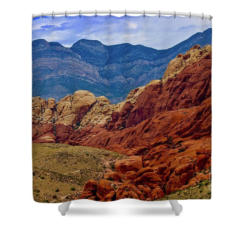 Red Rock National Park Shower Curtain featuring the photograph Colorful Red Rock by Craig Wood