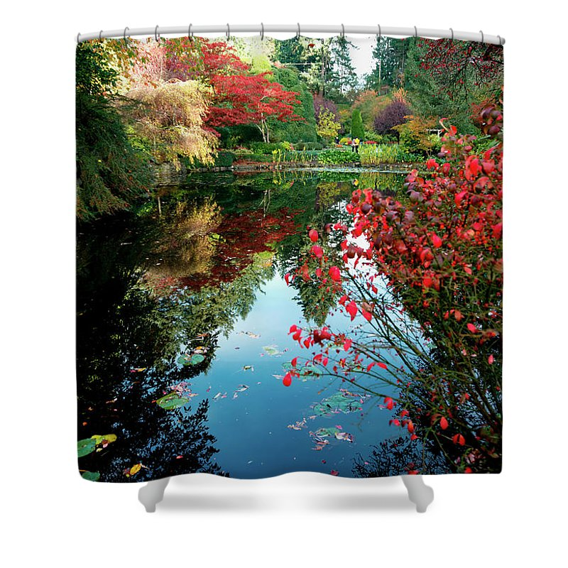 Outdoor Shower Curtain featuring the photograph Colorful Reflection In Autumn Gardens. by Andrew Kim