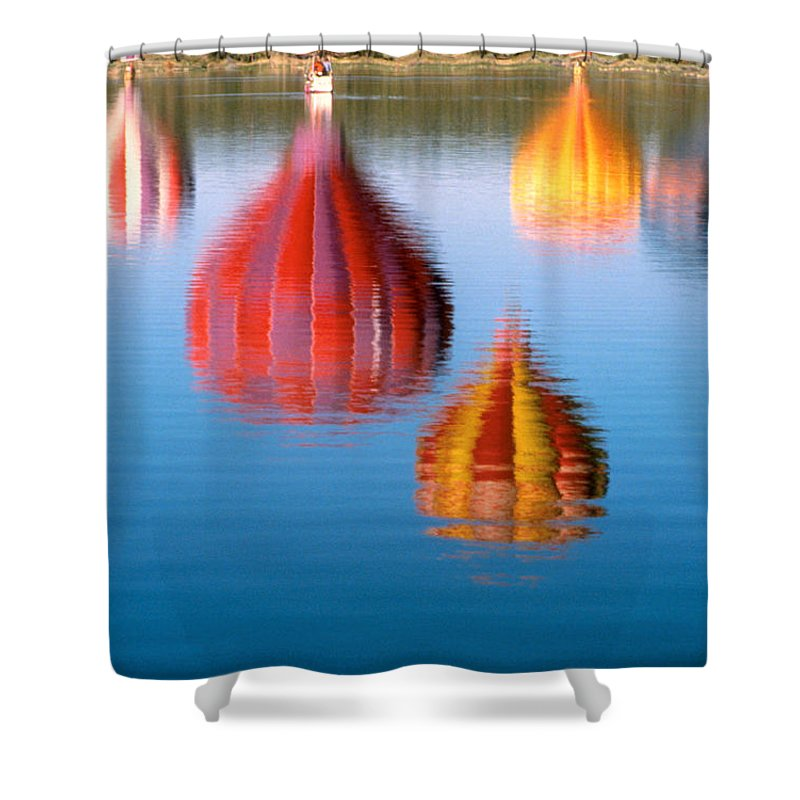 Hot Air Balloons Shower Curtain featuring the photograph Colorful Reflections by Jerry McElroy