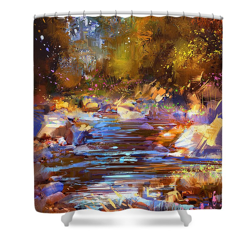 Abstract Shower Curtain Featuring The Painting Colorful River By Tithi Luadthong