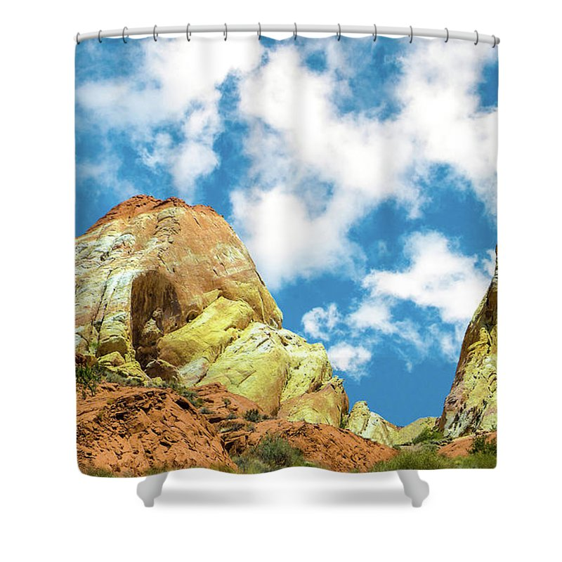 Rock Shower Curtain featuring the pyrography Colorful Rocks by Minas Keukazian
