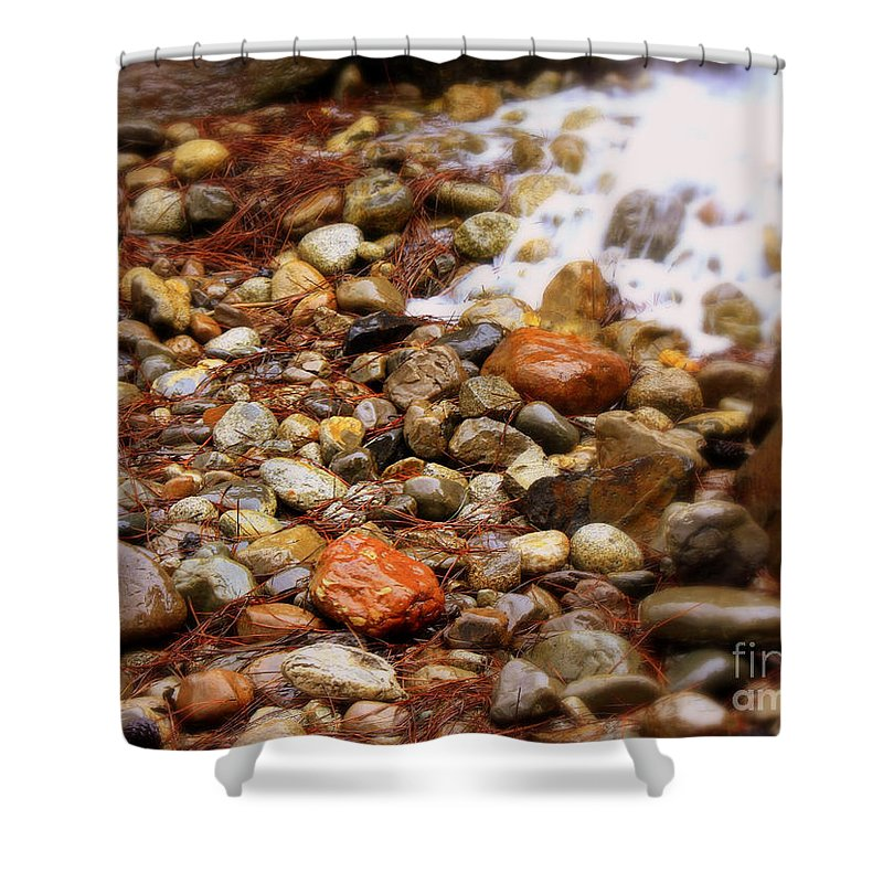 Nature Shower Curtain featuring the photograph Colorful Rocks With Waterfall by Carol Groenen