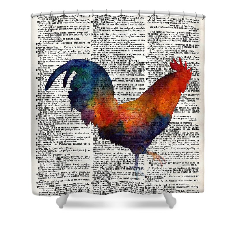 Rooster Shower Curtain featuring the painting Colorful Rooster On Vintage Dictionary by Hailey E Herrera