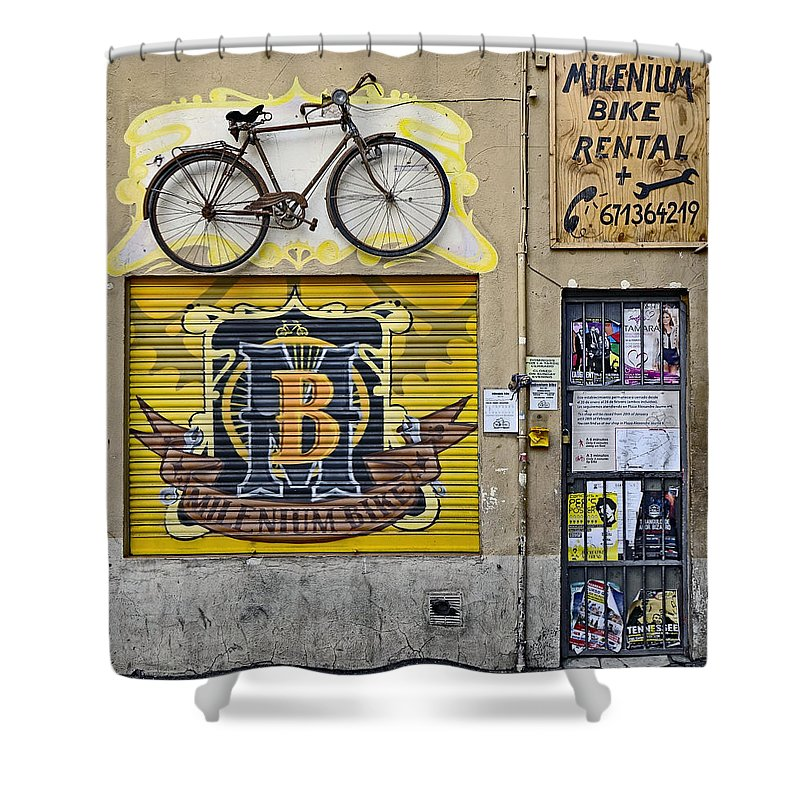 Signage Shower Curtain featuring the photograph Colorful Signage In Palma Majorca Spain by Richard Rosenshein