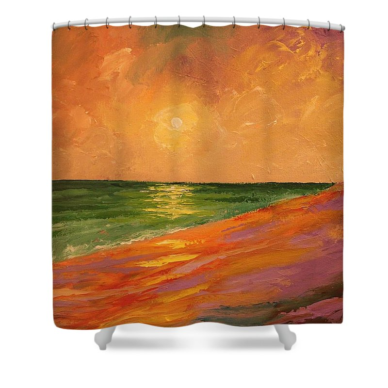 Colorful Shower Curtain featuring the painting Colorful Sunset by Angel Reyes