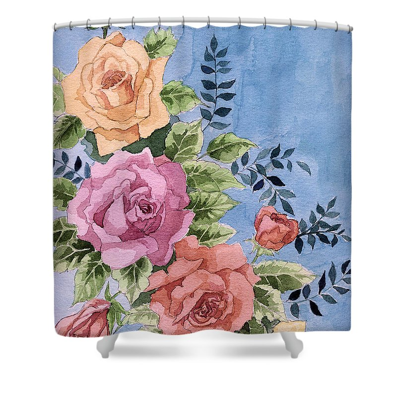 Roses Shower Curtain featuring the painting Colorfull Roses by Alban Dizdari