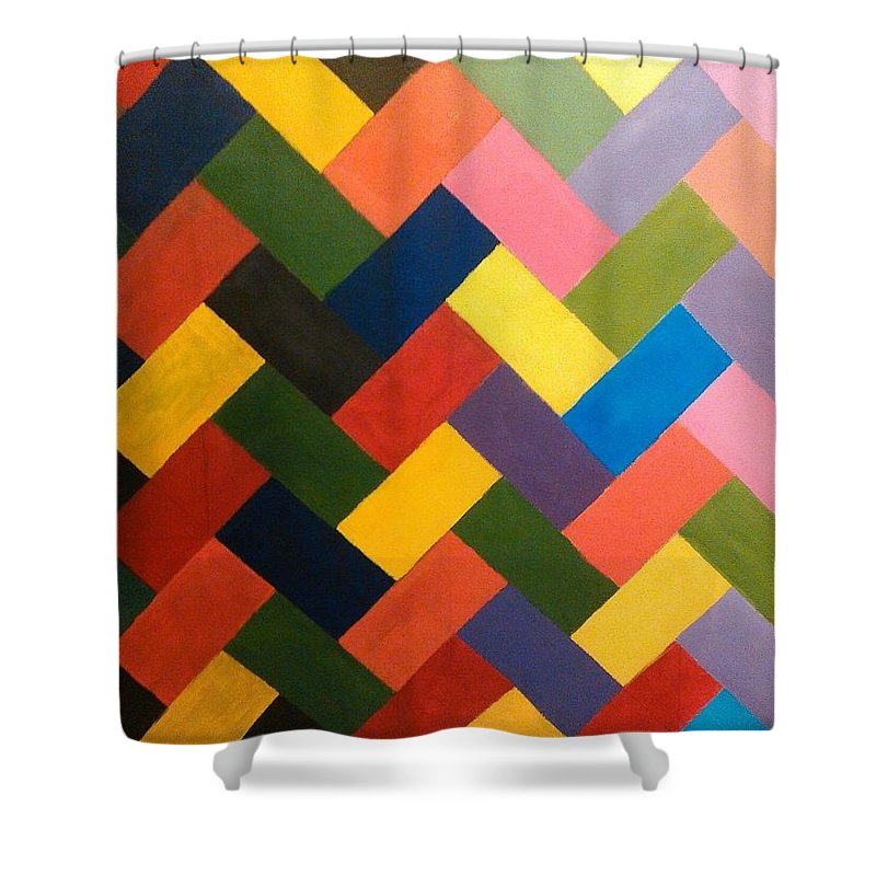 Abstract Shower Curtain featuring the painting ColorPS by Andrew Johnson