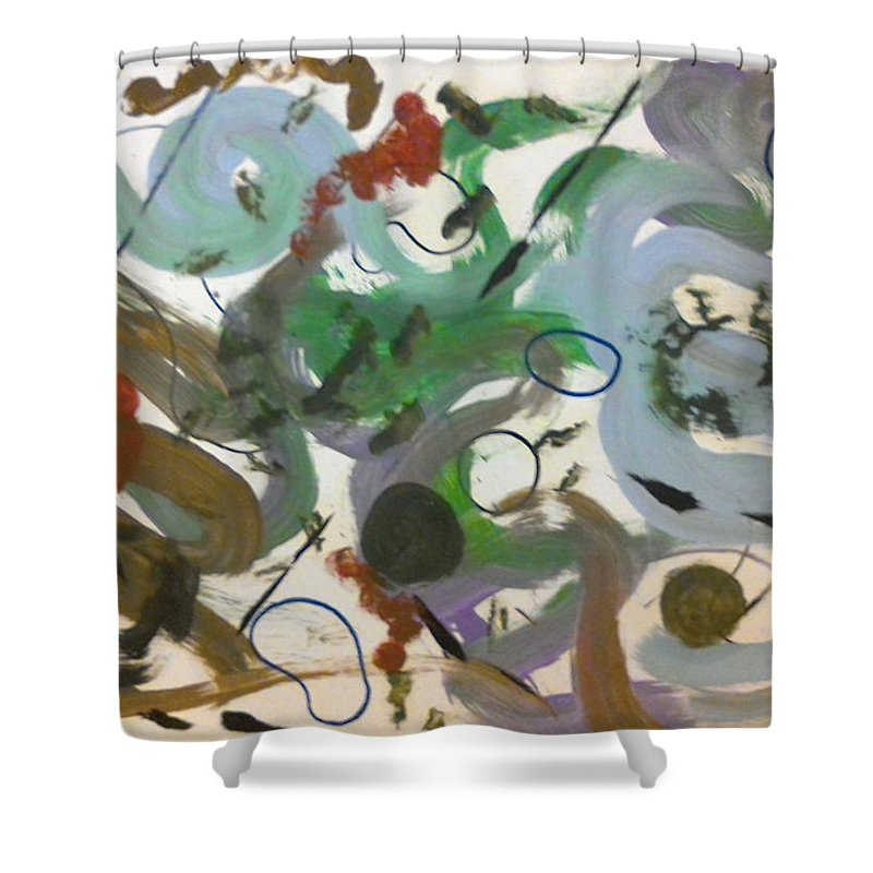 Abstract Shower Curtain featuring the painting Colors And Shapes by Katy Cousins