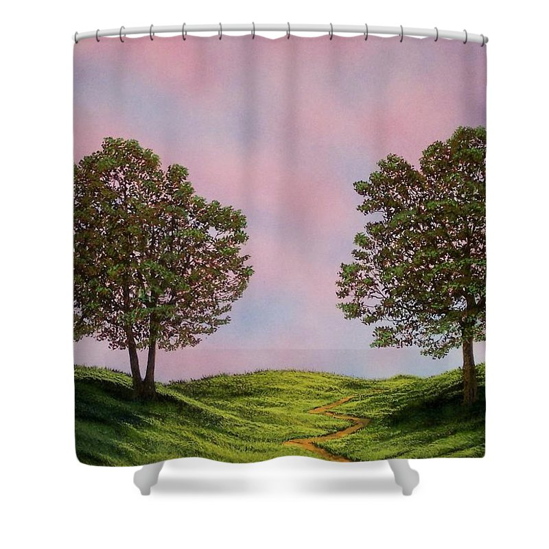 Landscape Shower Curtain featuring the painting Colors Of Dawn by Frank Wilson