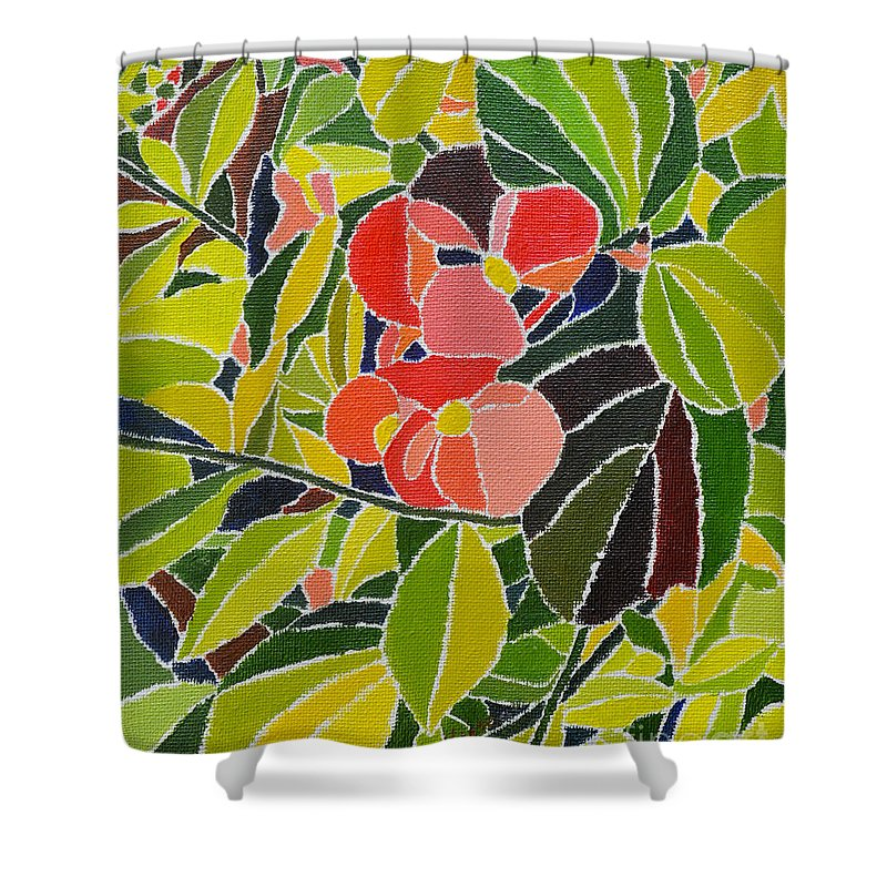 Oil On Canvas Shower Curtain featuring the painting Colors Of Nature by Seema Kumar