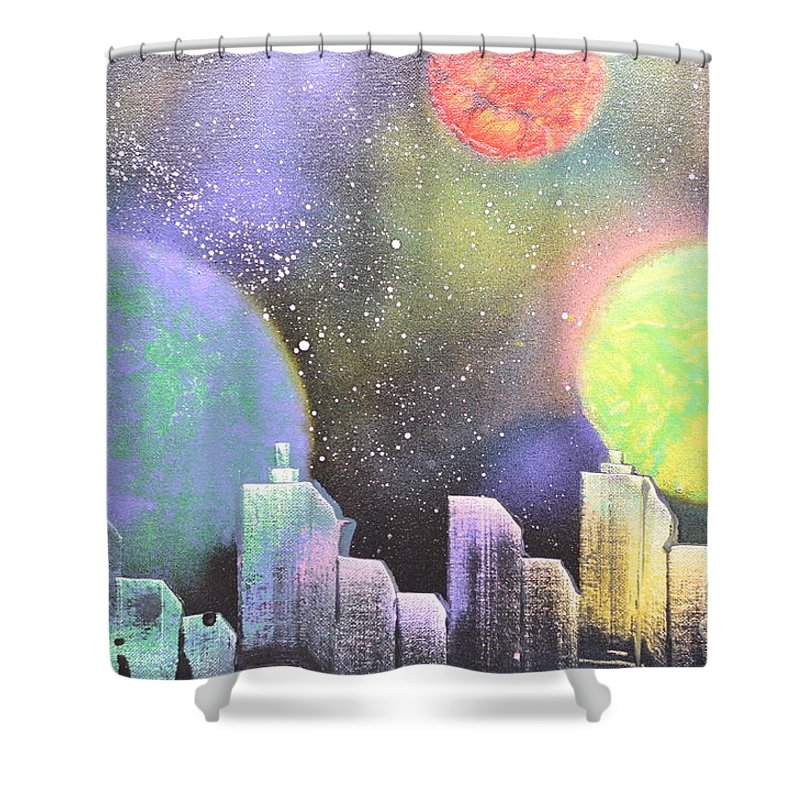 Planets Shower Curtain featuring the painting Colors Of The City by Zack Anderson