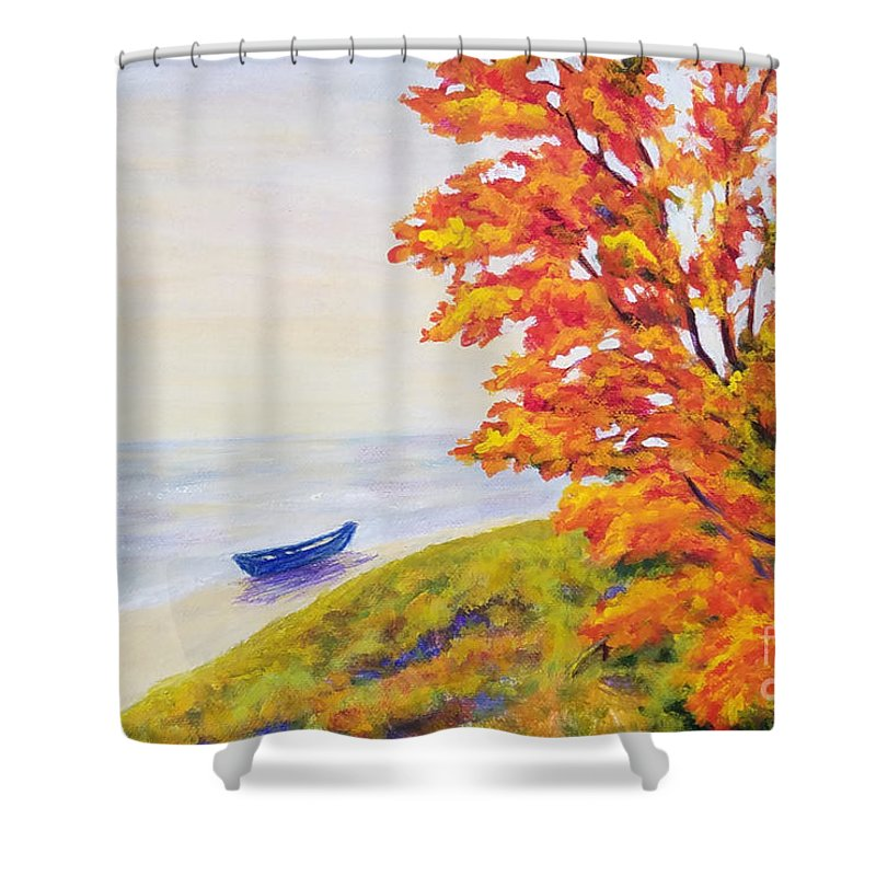 Autumn Landscape Shower Curtain featuring the painting Colors Of The Fall by Olga Malamud-Pavlovich