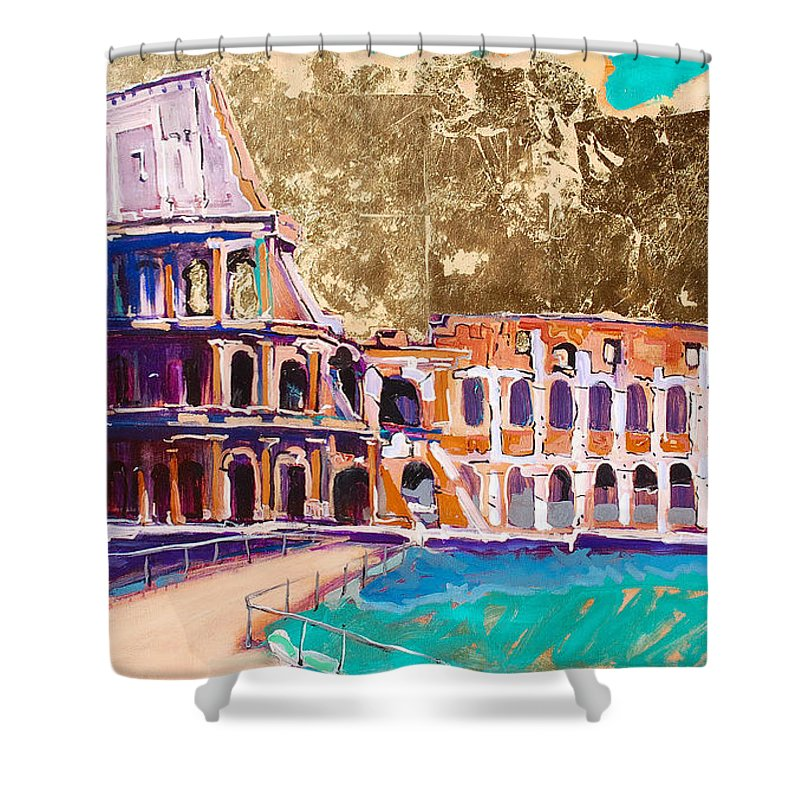 Rome Shower Curtain featuring the painting Colosseum by Kurt Hausmann