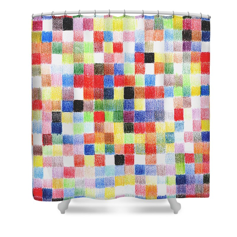 Color Abstract Shower Curtain featuring the drawing Colour Square by Andy Mercer