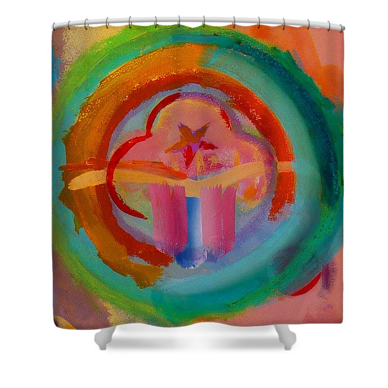 Logo Shower Curtain featuring the painting Colour States by Charles Stuart