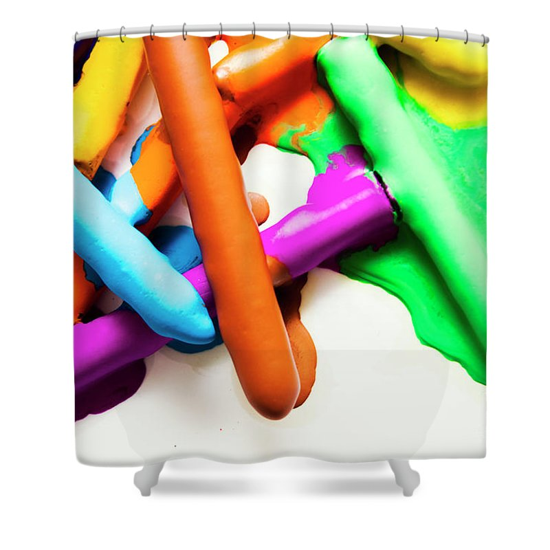 Art Shower Curtain featuring the photograph Colourful Crayon Art by Jorgo Photography - Wall Art Gallery