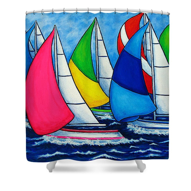 Boats Shower Curtain featuring the painting Colourful Regatta by Lisa Lorenz