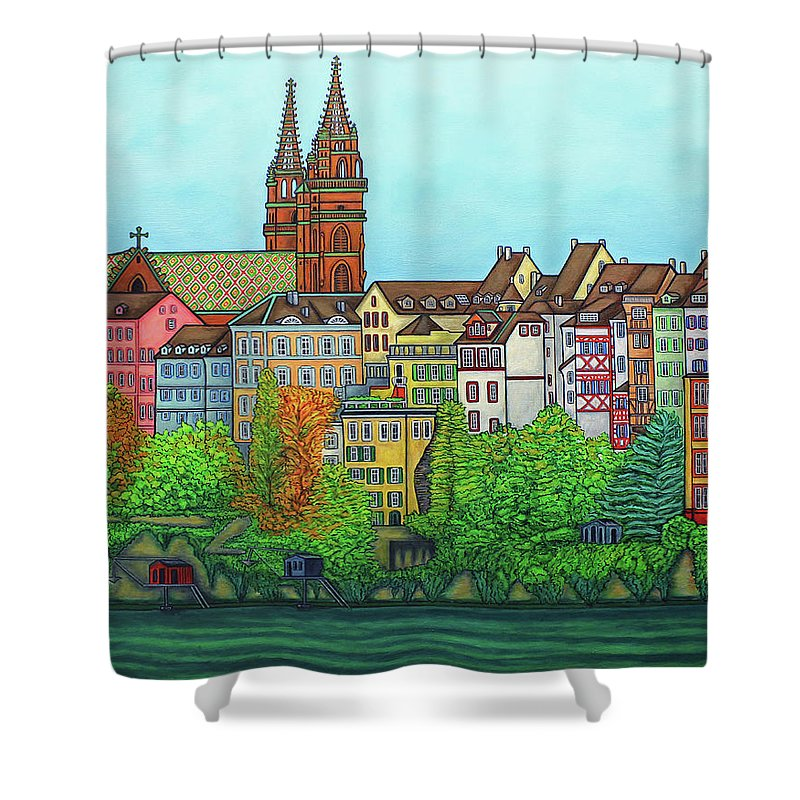 Lisa Lorenz Shower Curtain featuring the painting Basel, Colours of Basel by Lisa Lorenz