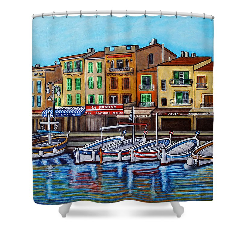 Cassis Shower Curtain featuring the painting Colours of Cassis by Lisa Lorenz