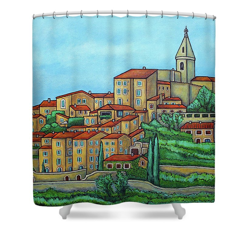 Provence Shower Curtain featuring the painting Colours of Crillon-le-Brave, Provence by Lisa Lorenz
