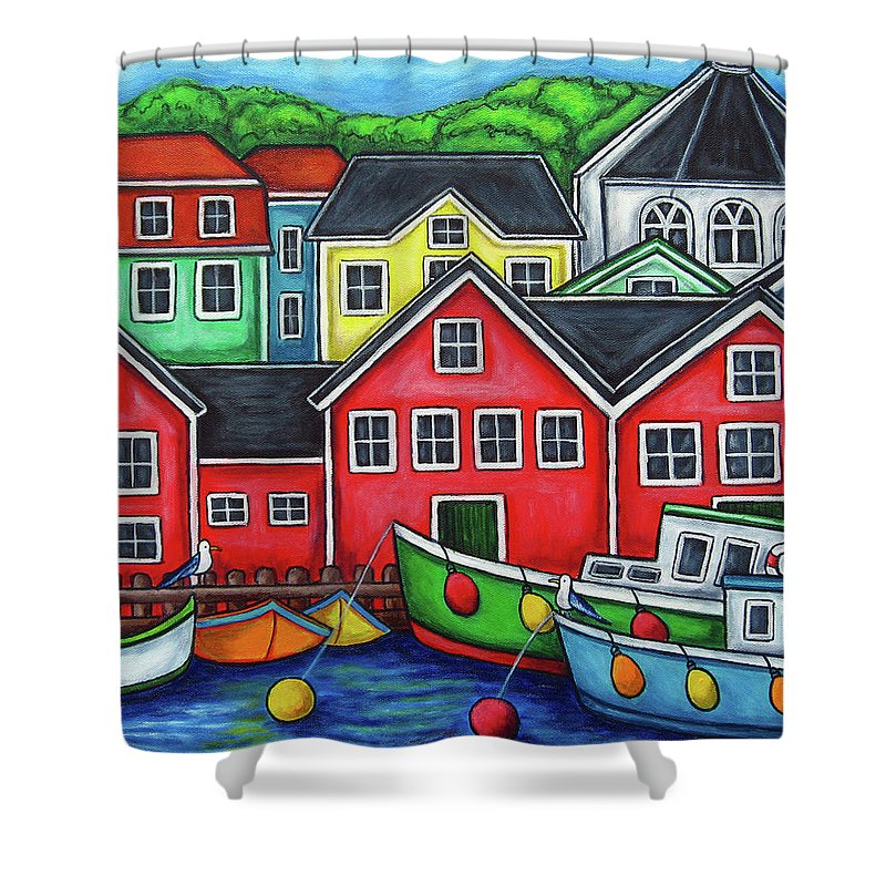 Nova Scotia Shower Curtain featuring the painting Colours of Lunenburg by Lisa Lorenz