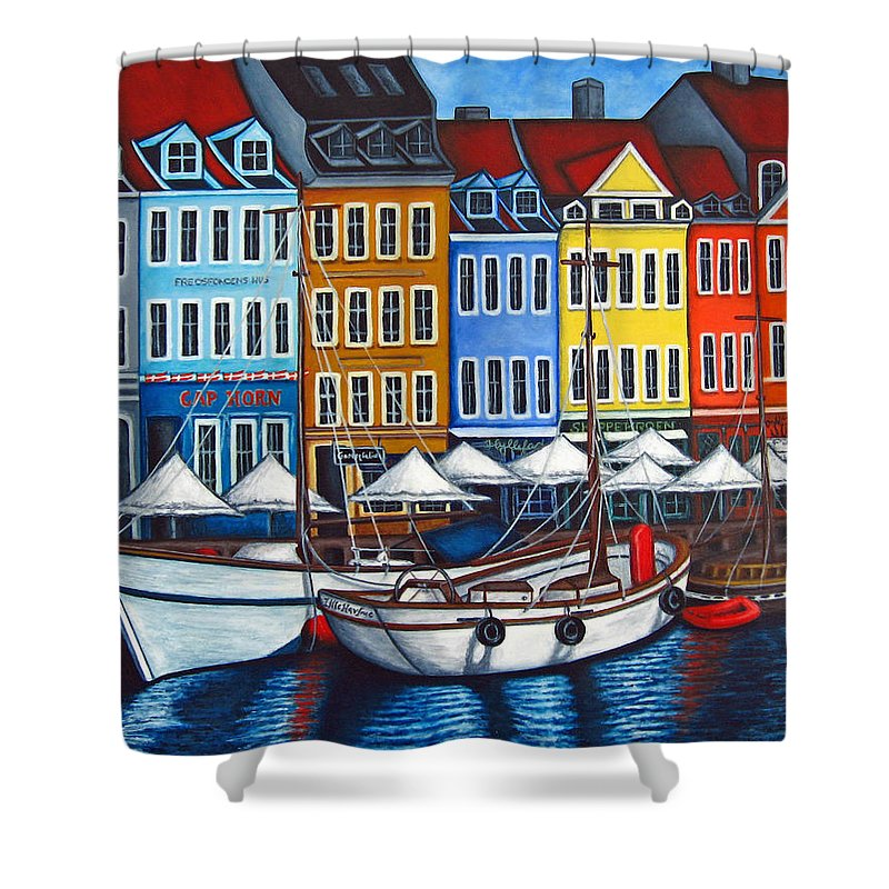 Nyhavn Shower Curtain featuring the painting Colours Of Nyhavn by Lisa Lorenz