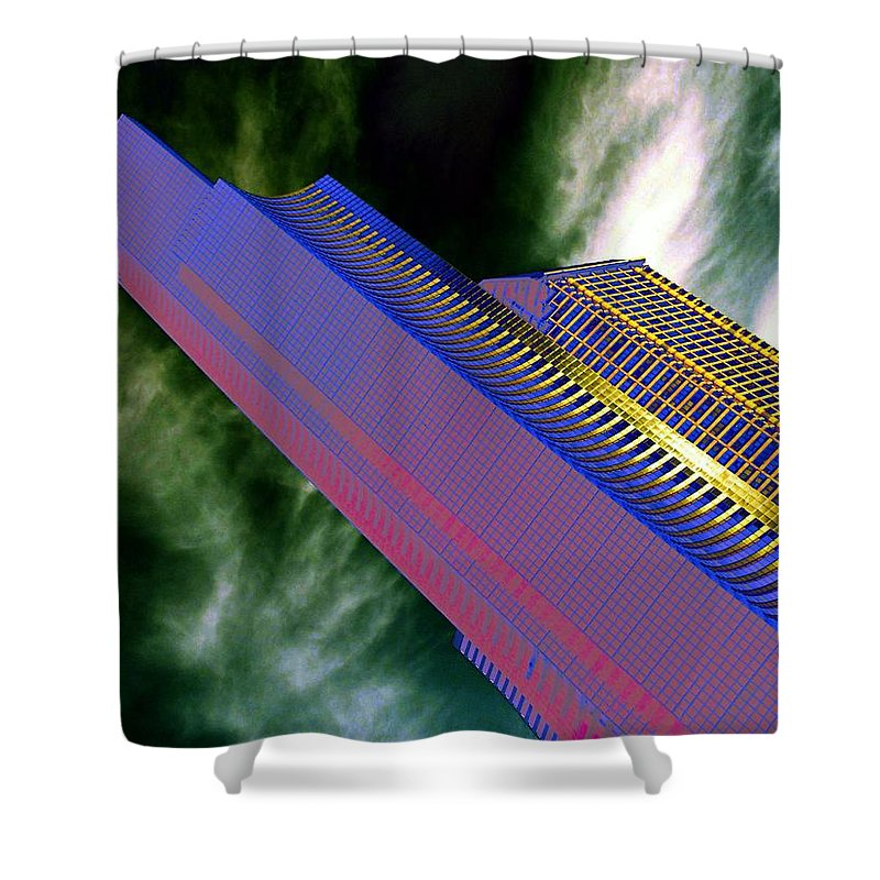 Seattle Shower Curtain featuring the digital art Columbia And Municipal Towers Seattle Wa by Tim Allen