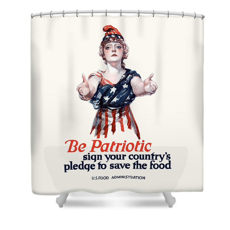 Columbia Shower Curtain featuring the painting Columbia Invites You To Save Food by War Is Hell Store