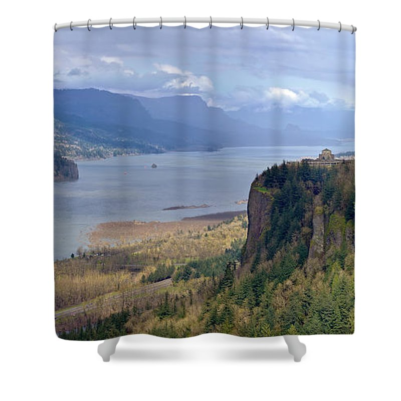 Rainbow Shower Curtain featuring the photograph Columbia River Gorge Oregon State Panorama. by Gino Rigucci