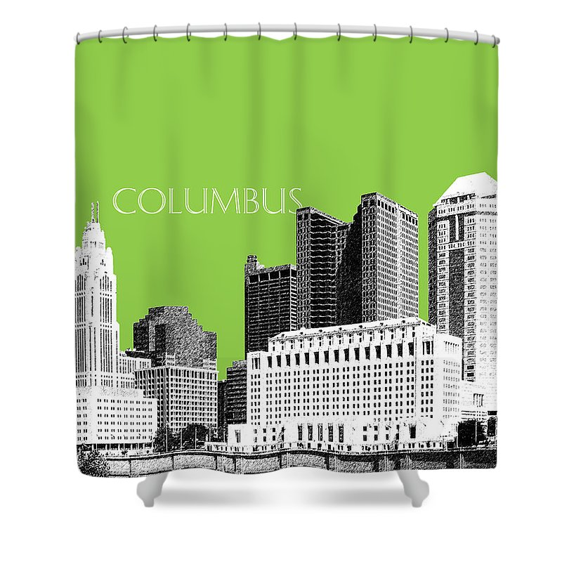 Architecture Shower Curtain featuring the digital art Columbus Ohio Skyline - Olive by DB Artist