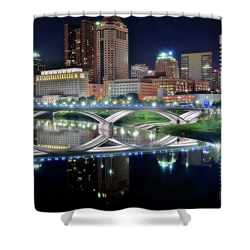 Columbus Shower Curtain featuring the photograph Columbus Over The Scioto by Frozen in Time Fine Art Photography