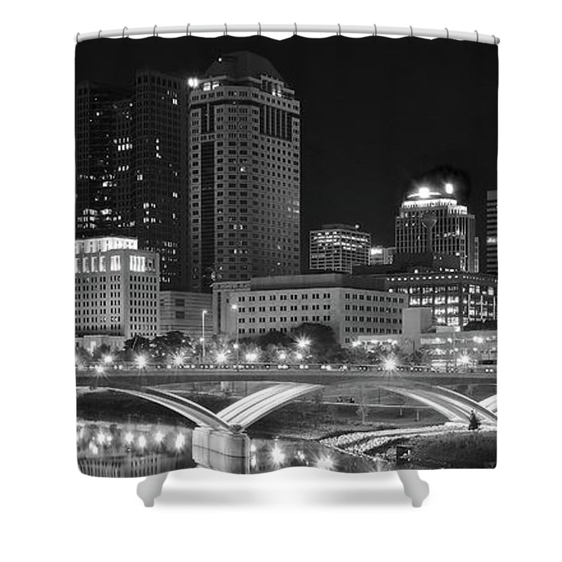 Columbus Shower Curtain featuring the photograph Columbus Panoramic Black And White Night by Frozen in Time Fine Art Photography